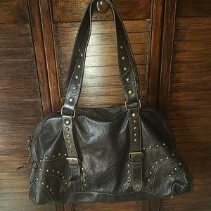 Leather studded purse large